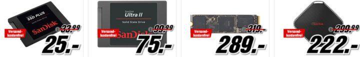 Media Markt Speicher Tiefpreisspätschicht: z.B: 400 GB  SANDISK Ultra micro SDXC Speicherkarte für 99€
