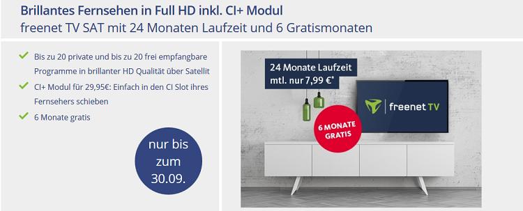 freenet TV (SAT) + 6 Monate gratis für 7,99€ mtl. + CI+ Modul für 29,95€