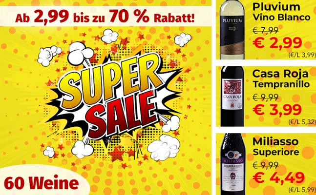 60 Weine ab 2,99€ pro Flasche (6 Flaschen MBW)
