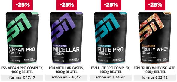 25% auf Proteine bei Fitmart   z.B. 2,5kg ESN Whey nur 35,55€