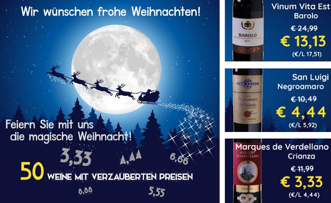 Magische Weihnachten bei Weinvorteil   verschiedene Weine ab 3,33€