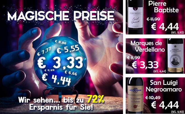 Magische Preise bei Weinvorteil bis Mitternacht   verschiedene Weine ab 3,33€