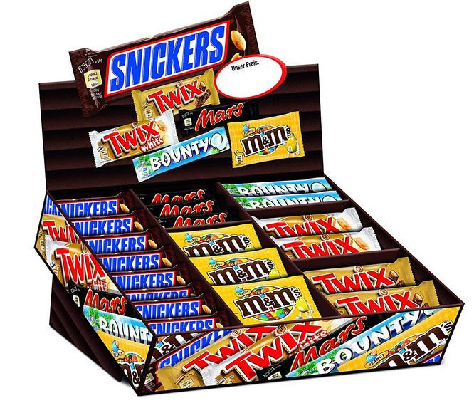 Mars Topsellerbox   Snickers, Twix, Mars, Bounty M&Ms Peanut 72 Riegel für 26,99€ (stattt 35€)