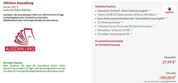 Vodafone Data Go L mit 12GB LTE (bis 500 Mbit/s) für 27,49€ mtl. (dank Cashback eff. 11,24€)
