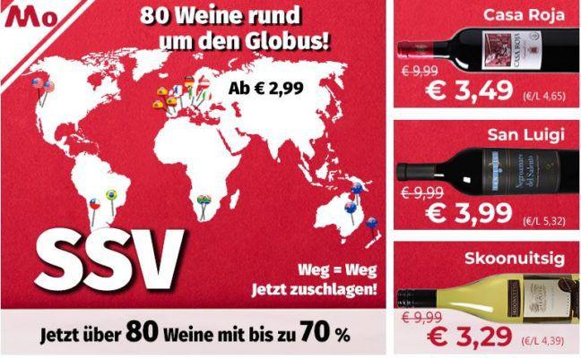 Sale bei Weinvorteil mit bis zu 70% Rabatt   Weine ab 2,99€ pro Flasche