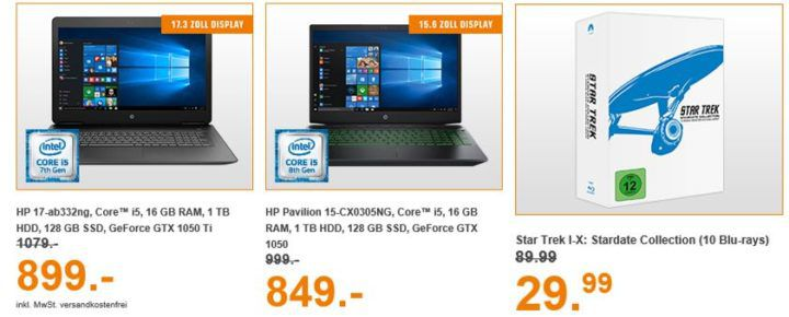 Saturn Entertainment Weekend Deals: z.B. HP Pavilion 17 Notebook mit i5 u. 16 GB RAM für 899€ (statt 1.079€)