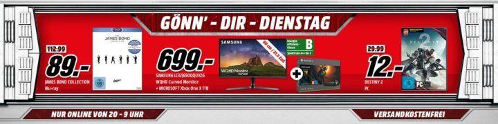 Xbox One X 1TB + Shadow of The Tomb Raider + Samsung C32JG50 32″ Curved WQHD Monitor für 699€   uvm. im Media Markt Dienstag Sale