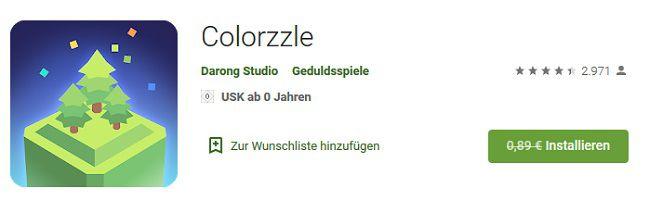 Colorzzle (Android) gratis statt 0,89€