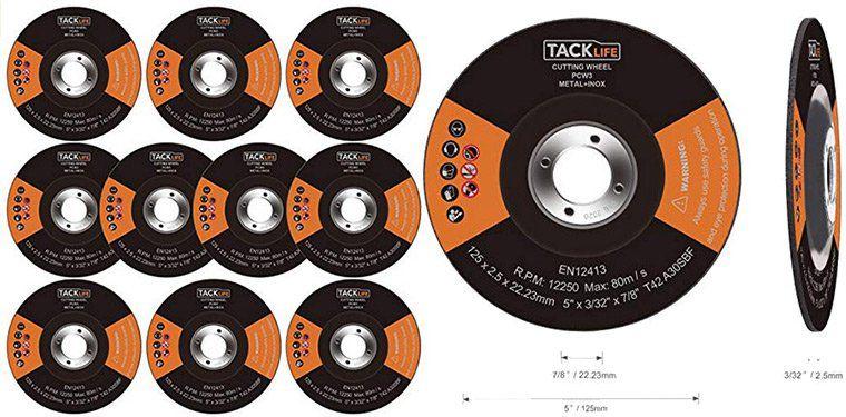 Tacklife PCW3   Trennscheiben Set 10tlg. zum Schneiden von Metall (Ø 125 mm) für 4,99€ (statt 9€)   Prime