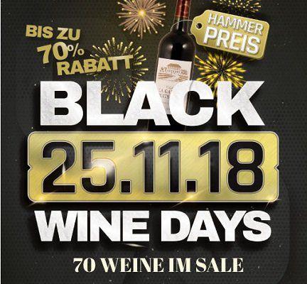 Black Wine Days bei Weinvorteil mit bis zu 70% Rabatt   Weine ab 1,99€ pro Flasche