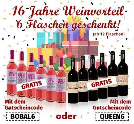 12 Weinflaschen kaufen und 6 Flaschen gratis bei Weinvorteil