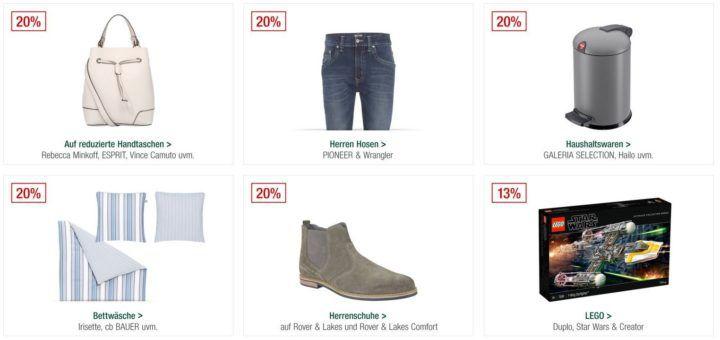 Galeria Kaufhof Sonntagsangebote   20% Rabatt auf Handtaschen, Rover & Lakes Schuhe, auf ausgewählte Haushaltsartikel uvam