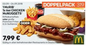 Coupon September mcrib-und-6er-mcnuggets-doppelpack-menü