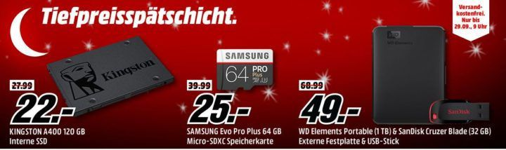 MM kleine Speicher Tiefpreisspätschicht: z.B. SANDISK Extreme Portable 500 GB SSD für 119€