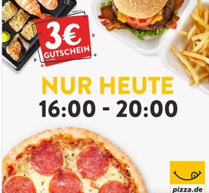 3€ Pizza.de Gutschein mit 8€ MBW   nur per App bis 20Uhr