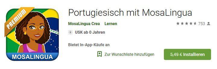 MosaLingua Premium – einfach Portugiesisch lernen (Android) kostenlos (statt 5,49€)