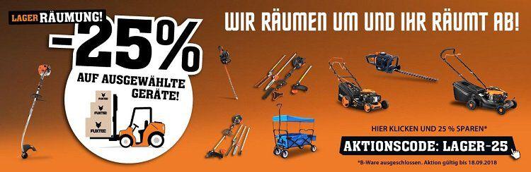 Bis Mitternacht: Fuxtec: 25% auf ausgewählte Gartengeräte   z.B. Benzin Rasenmäher FX RM5396P für 306,75€ (statt 499€)