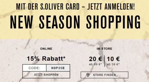 s.Oliver mit 15% extra Rabatt auf alles   günstige Marken Fashion bis Mitternacht