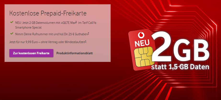 NEWS: Mehr Datenvolumen für Vodafone CallYa Tarife