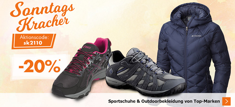 Karstadt Sonntags Kracher mit u. A. 20% auf Sportschuhe oder Outdoorbekleidung