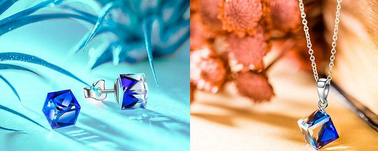Alex Perry silberne Halskette bzw. Ohrstecker mit blauen Glaskristallen für je 9,99€ (statt 22€)