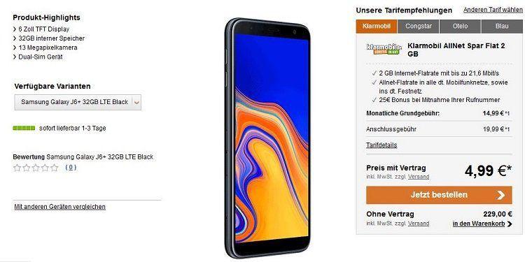 Samsung Galaxy J6+ für 24,98€ + Klarmobil Spar Flatrate mit 2 GB (D Netz) für 14,99€ mtl.