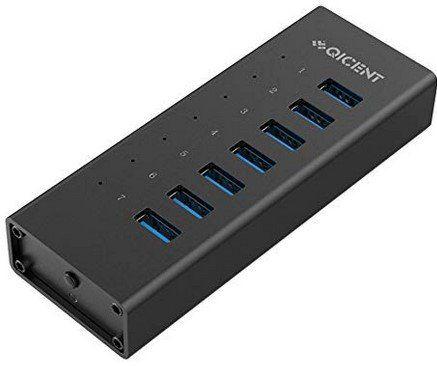 QICENT 7 Port USB 3.0 Hub aus Aluminium für 17,39€ (statt 29€)