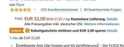 FLYCO FS377 Elektrorasierer mit USB Adapter für 29€ (statt 40€)