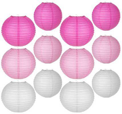 12 runde Papierlaternen von Weiß bis Rosa für 9,09€