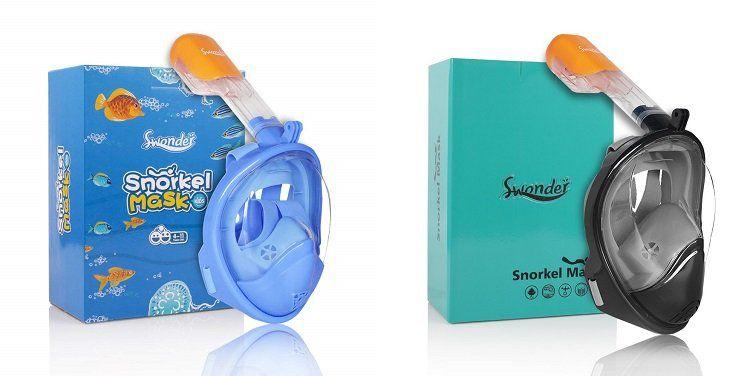 Swonder Vollgesichts Schnorchelmaske mit Kamerahalterung für Kinder für 17,99€ oder Erwachsene für 22,19€