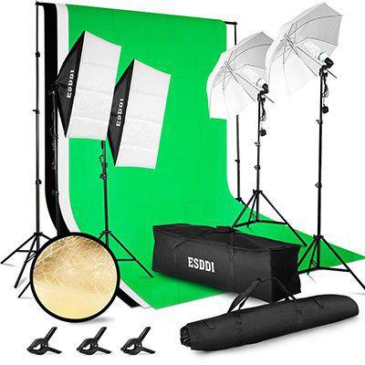 ESDDI PS005   Fotostudio Set mit Softboxen, Greenscreen & mehr für 85,79€ (statt 120€)