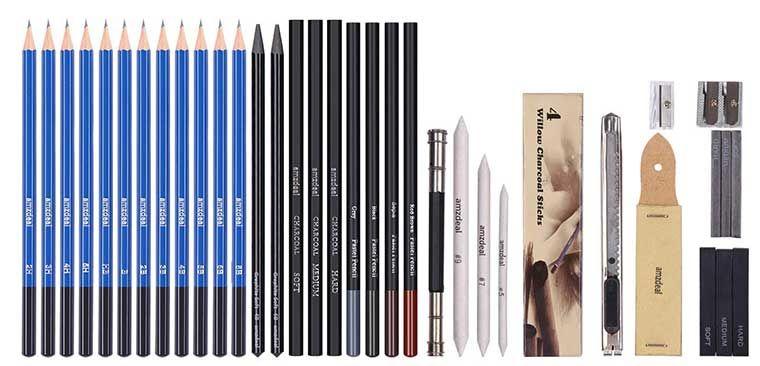 Vorbei! Bleistifte Set aus 42 Teile mit viel Zubehör für 9,99€ (statt 20€)   Prime