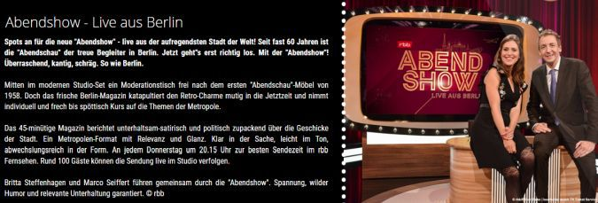 Freikarten für Abendshow   Live aus Berlin (heute, 15. November)