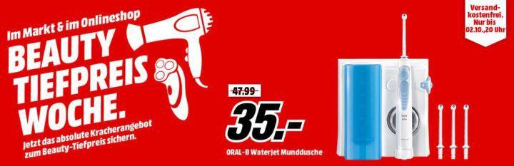 Media Markt Beauty Tiefpreis Woche: heute z.B. ORAL B Oral B Munddusche für 35€ (statt 44€)