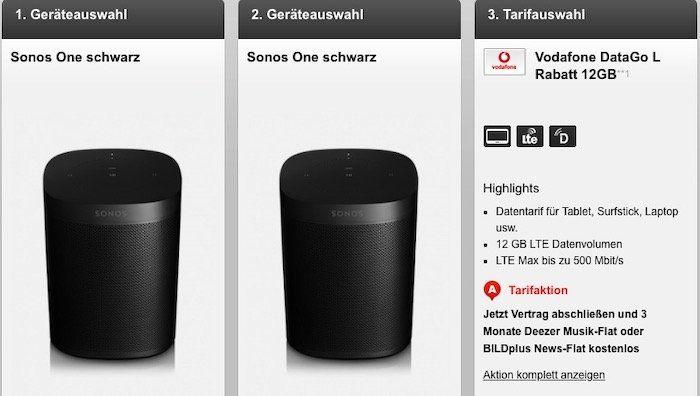 2er Pack Sonos One für 19,95€ + Vodafone DataGo L mit 12GB LTE für 27,49€ mtl.