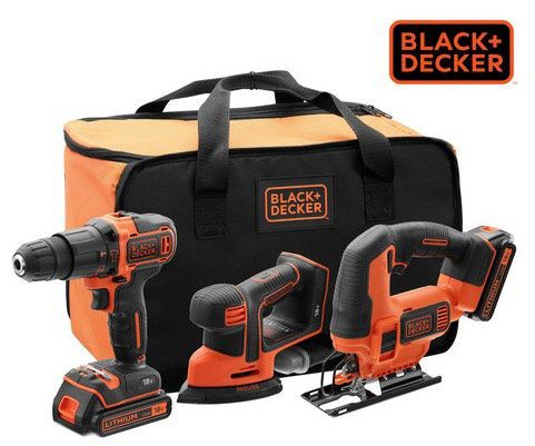 Black & Decker Powertools Kombiset (Bohrmaschine, Schleifer, Säge, Akku, Tasche) für 138,90€