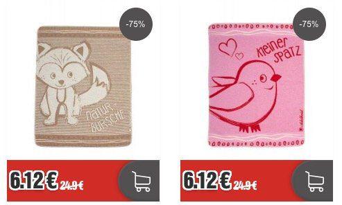 Adelheid Babydecke Kleiner Spatz und Naturbursche je 70 cm x 90 cm für je 6,12€ (statt 25€)