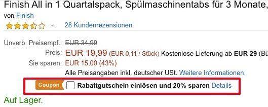 182er Pack Finish All in 1 Spülmaschinentabs ab 15,99€ (statt 29€)