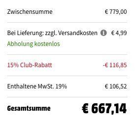 Nur heute! Media Markt Clubtag mit bis zu 15% Rabatt auf verschiedene Kategorien   z.B. Miele CM 5400 Kaffeevollautomat für 667€ (statt 749€)