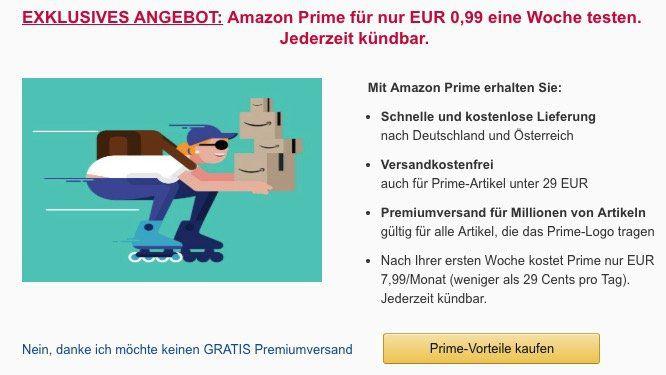 Amazon Prime Vorteile 1 Woche lang für 0,99€