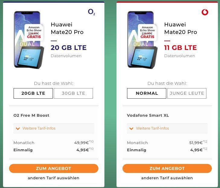 Huawei Mate 20 (Pro) ab 4,95€ + Echo Plus 2. Gen oder Echo Show 2. Gen mit o2 oder Vodafone Tarifen