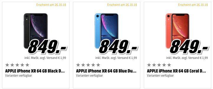 Apple iPhone XR ab effektiv 785,40€ beim Media Markt vorbestellen dank 15 fach Payback Coupon