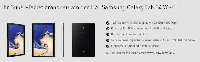 Samsung Galaxy Tab S4 64GB für 49€ (Wert 550€) dank EnBW Ökostrom Wechsel