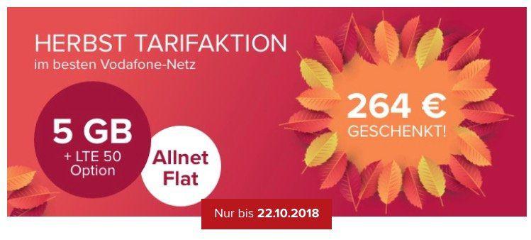 Vodafone Allnet Flat on otelo mit 5GB LTE für 24,99€ mtl. + 264€ Club Guthaben (eintauschbar gegen Shopping Gutscheine)