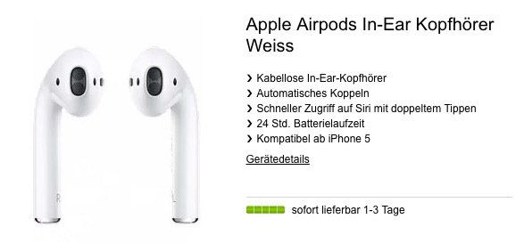 Apple AirPods für 29€+ Telekom Datentarif mit 10GB LTE für 13,99€ mtl.   oder für 19€ mit 2GB für 9,99€ mtl.
