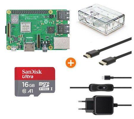 Raspberry Pi 3 B+ Multimedia Bundle mit Gehäuse, Netzteil, Speicherkarte, HDMI Kabel für 58,99€ (statt 74€)