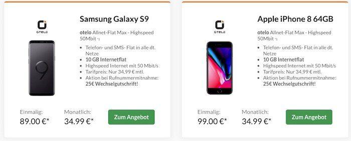 Top Smartphones ab 19€ + Vodafone Allnet Flat von otelo mit 10GB LTE für 34,99€ mtl.