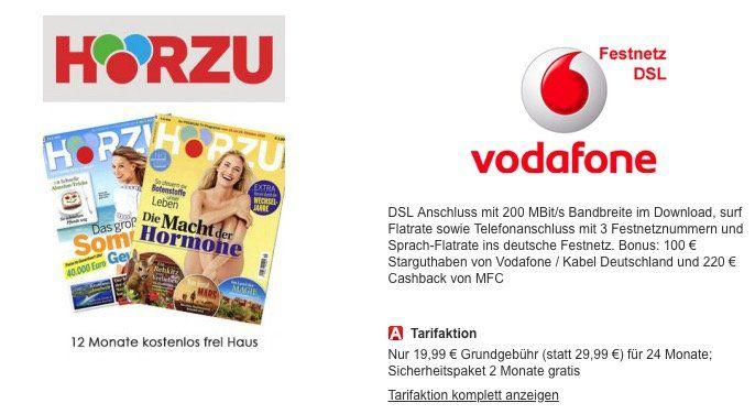 Vodafone Red Internet & Phone 100 Cable für 16,07€ mtl. dank 200€ Cashback & 100€ Startguthaben + 1 Jahr HÖRZU Abo gratis (Wert 114€)