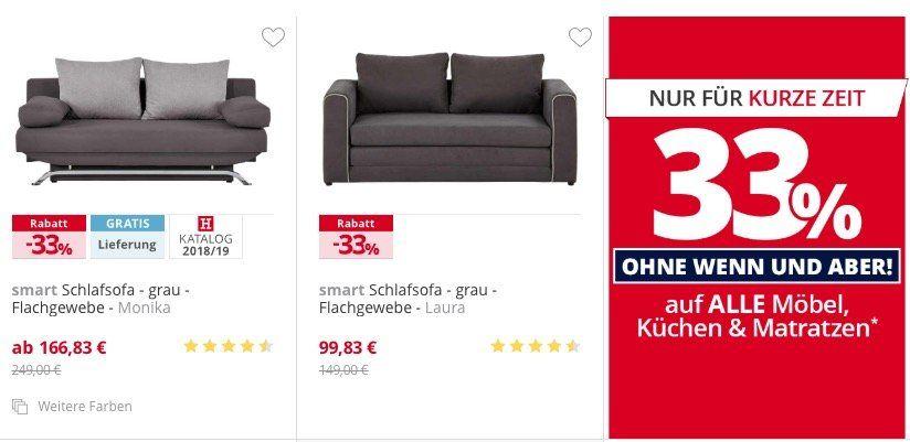 33% Rabatt auf fast alle Möbel, Küchen und Matratzen