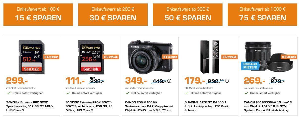Saturn Weltspartag   bis zu 75€ Sofort Rabatt je nach Einkaufswert   z.B. Canon EOS M100 Kit 15 45 mm für 299€ (statt 340€)